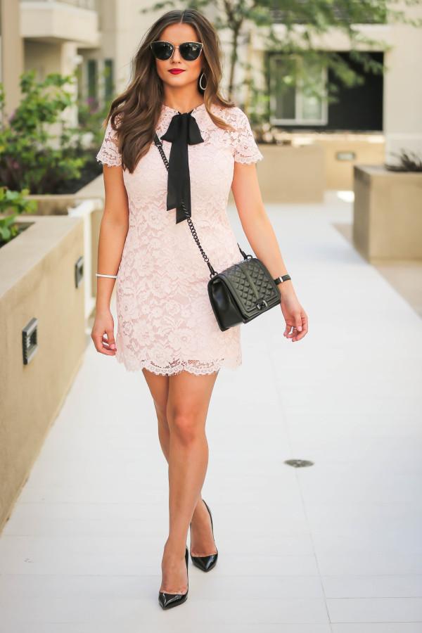 #OOTD // Blush Pink Lace Bow Dress | BondGirlGlam.com