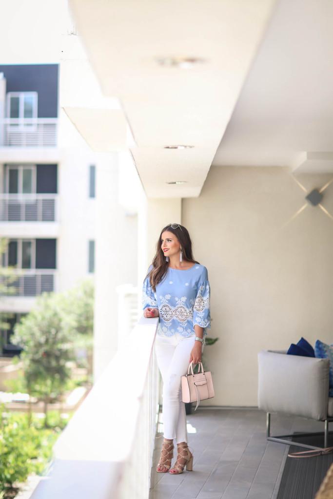 #OOTD // Blue Lace Top & White Frayed Jeans | BondGirlGlam.com