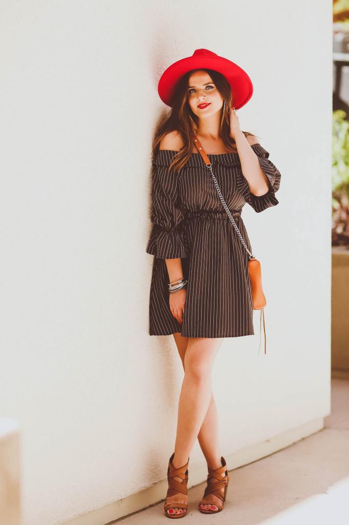 #OOTD // Off-the-Shoulder Pinstripe Dress | BondGirlGlam.com