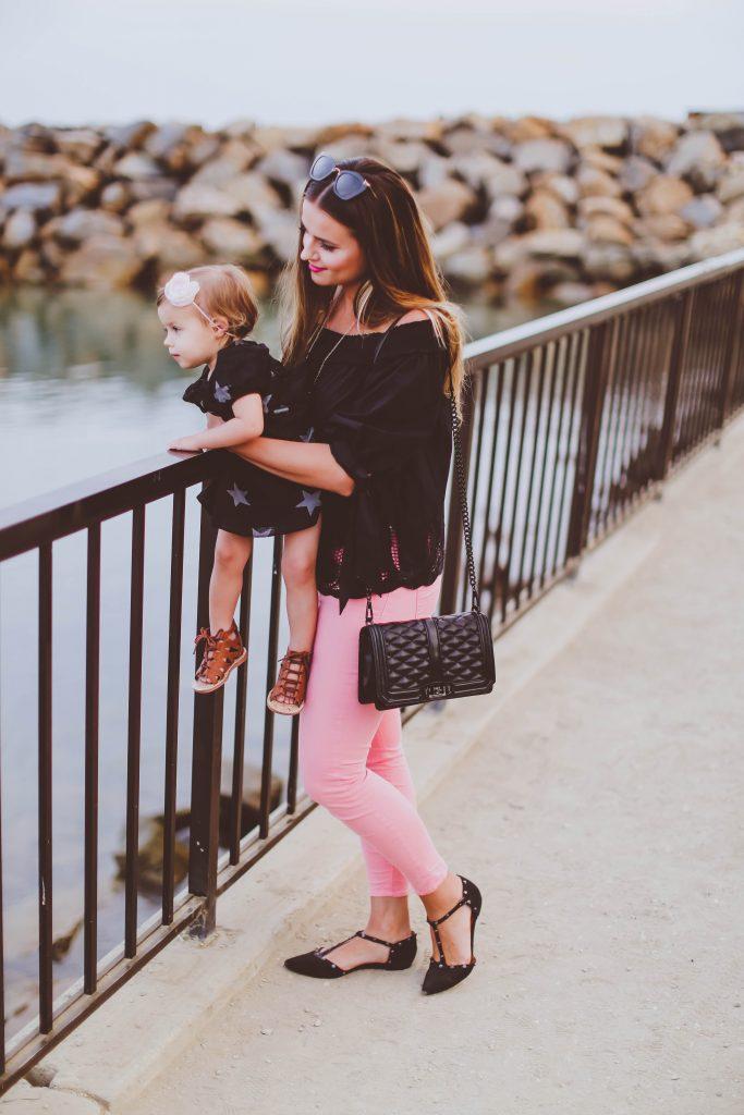 #OOTD // Black Off-the-Shoulder Cutout Top & Pink Skinny Jeans | BondGirlGlam.com