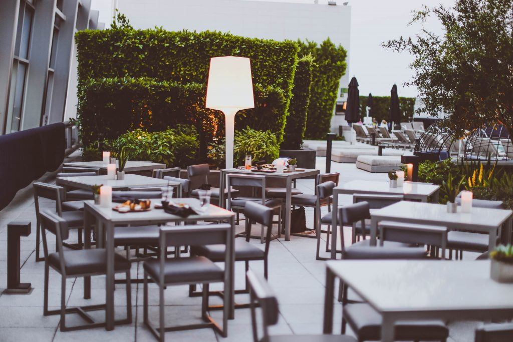 date night, wp24 rooftop, dinner, tables, poolside, ritz carlton los angeles, la live