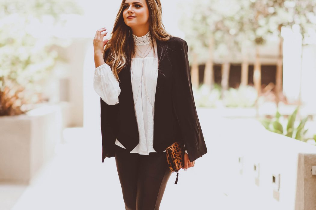 fall outfit, black cape blazer, white collared gauzey blouse, jcpenney, black leather-look spanx leggings, clare v leopard clutch, karen walker number one sunglasses, camel suede manolo blahnik bb pumps