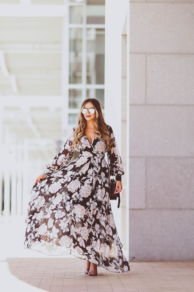 summer outfit ideas, morning lavender black floral maxi dress, le specs prince sunglasses in matte black, chloe small hudson black crossbody bag, black strappy heels