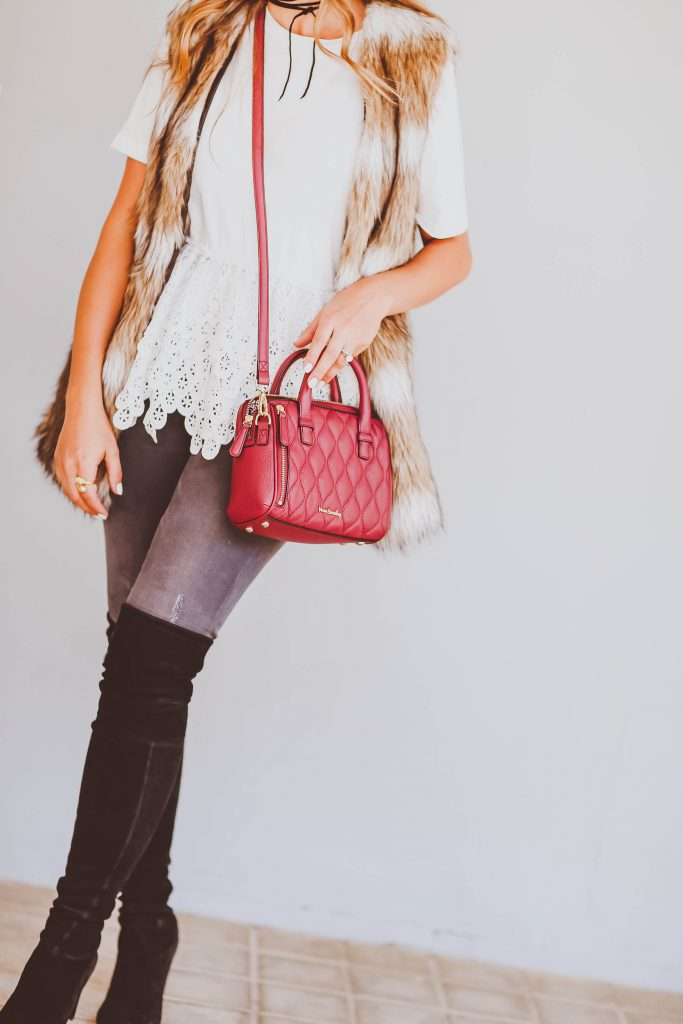 faux fur vest, vera bradley burgundy mini marlo satchel, fall transitional outfit, white lace peplum tee, grey skinny jeans, stuart weitzman highland over-the-knee-boots, choker necklace, white janessa leone hat