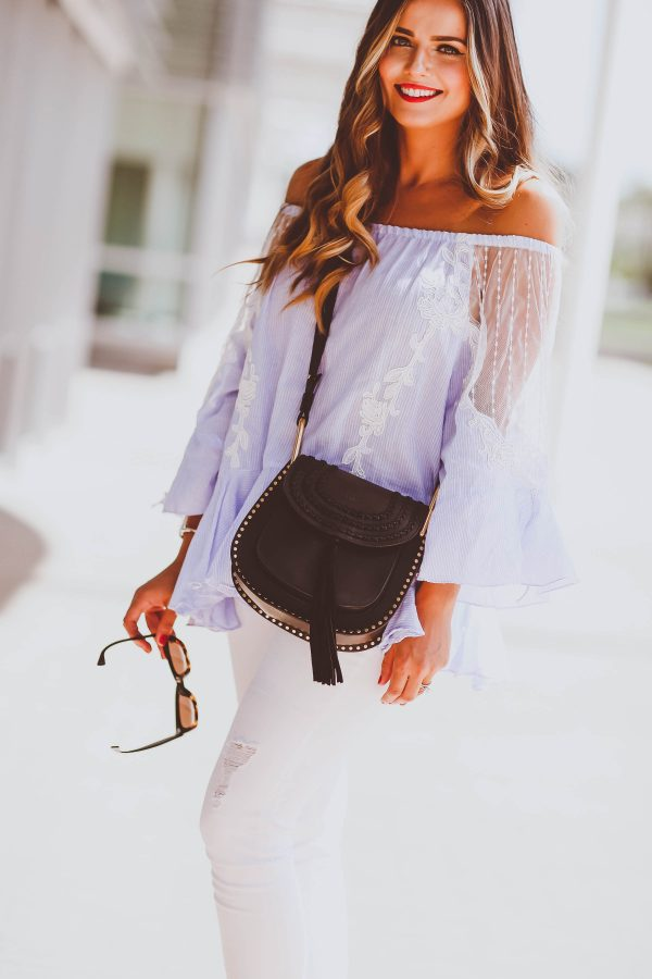 chicwish blue off-the-shoulder frill top, articles of society white frayed jeans, chloe hudson crossbody bag, celine sunglasses, vince mules, summer fashion
