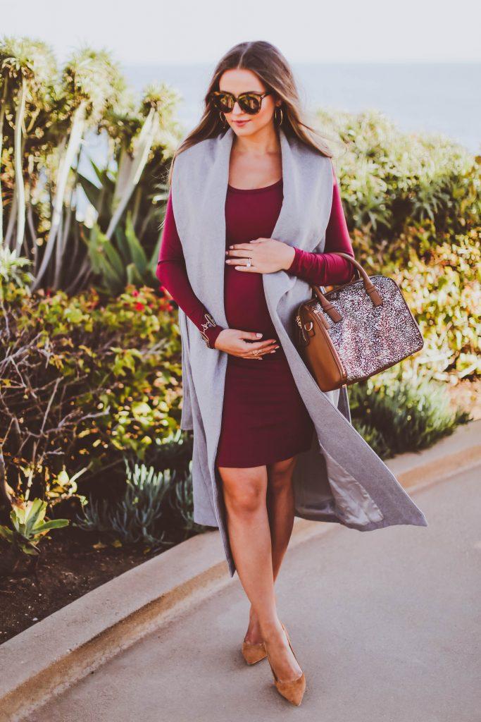 fall maternity style, vera bradley marlo satchel downtown dots, shop buru anne grey sleeveless vest, burgundy bodycon midi dress, manolo bb pumps