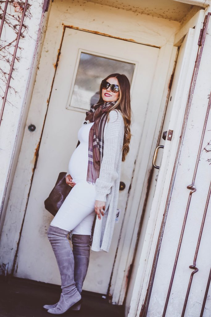 #BumpStyle // Long Grey Cardigan & Grey OTK Boots | BondGirlGlam.com