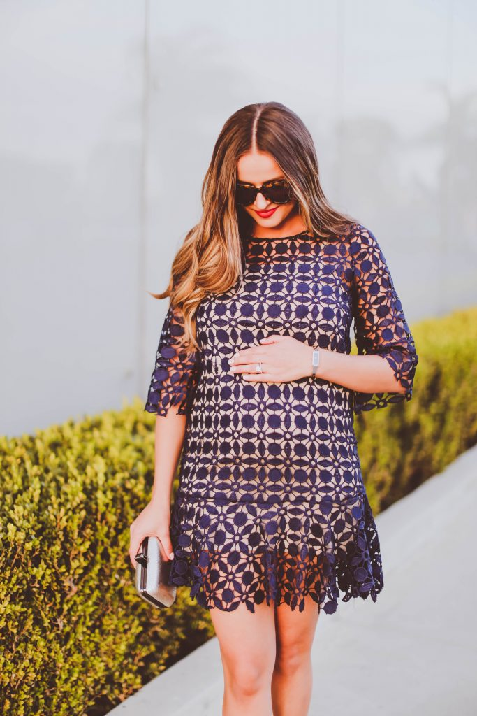 pregnancy style, pregnant, fall maternity outfit, lace navy dress