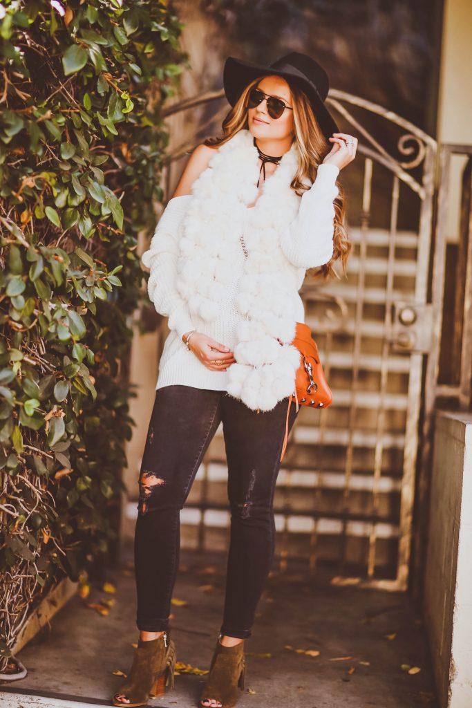 #BumpStyle // White Lace-Up Back Sweater & Tassel Booties | BondGirlGlam.com
