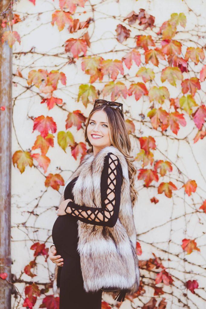 #BumpStyle // Faux Fur Vest & Black Lace-Up Bodycon Dress | BondGirlGlam.com