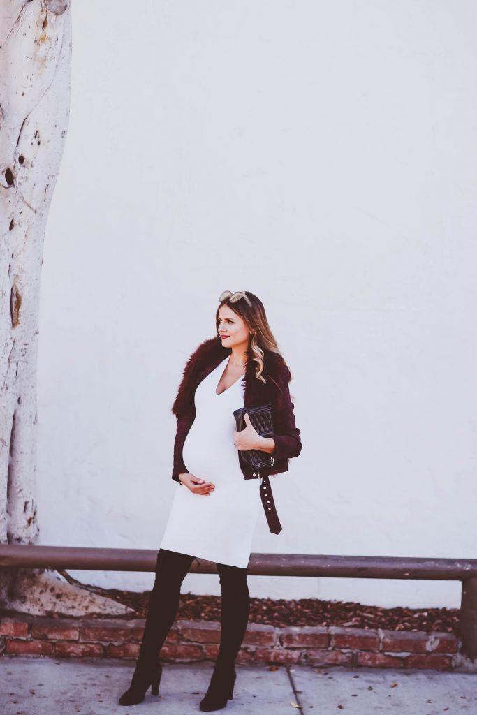 #BumpStyle // Burgundy Suede Moto Jacket & White Dress | BondGirlGlam.com