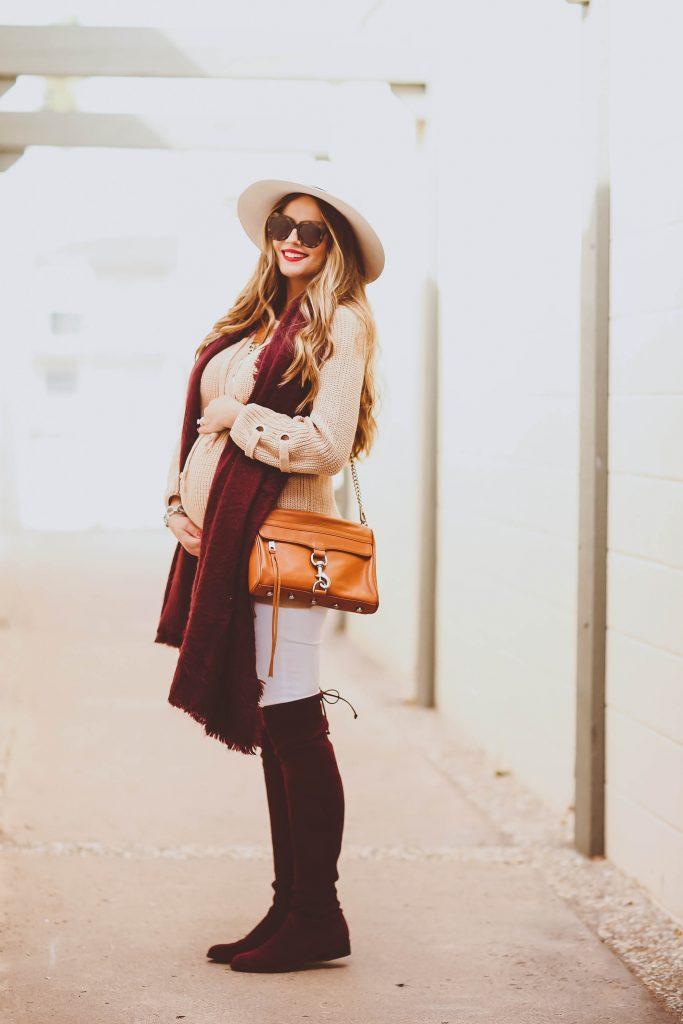 #BumpStyle // Beige Lace-Up Sweater, Burgundy Scarf & OTK Boots   BondGirlGlam.com