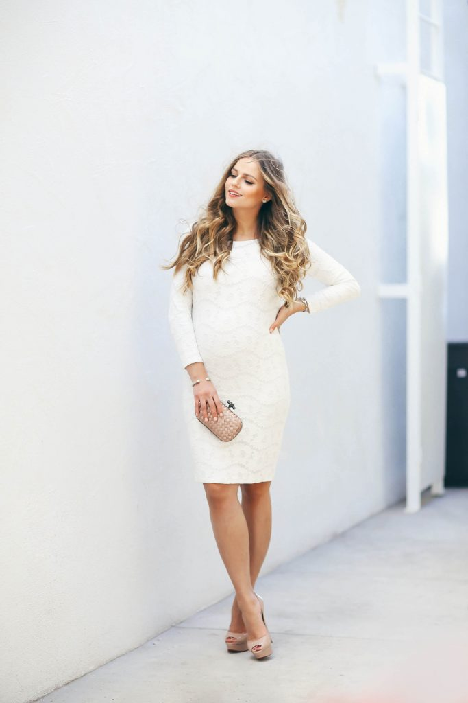 #BumpStyle // White Lace Long-Sleeve Bodycon Dress | BondGirlGlam.com