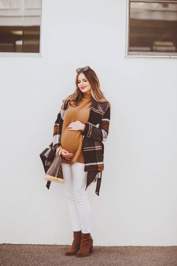 #BumpStyle // Checkered Wrap Coat & Brown Suede Booties | BondGirlGlam.com