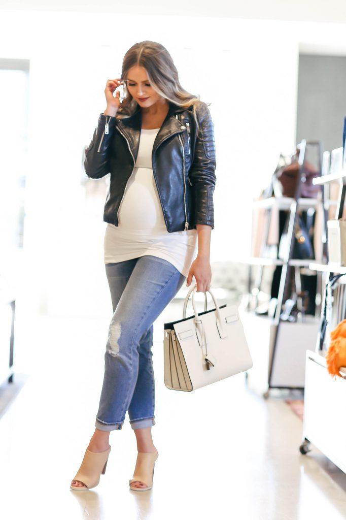 #BumpStyle // Moto Jacket & Boyfriend Jeans   BondGirlGlam.com