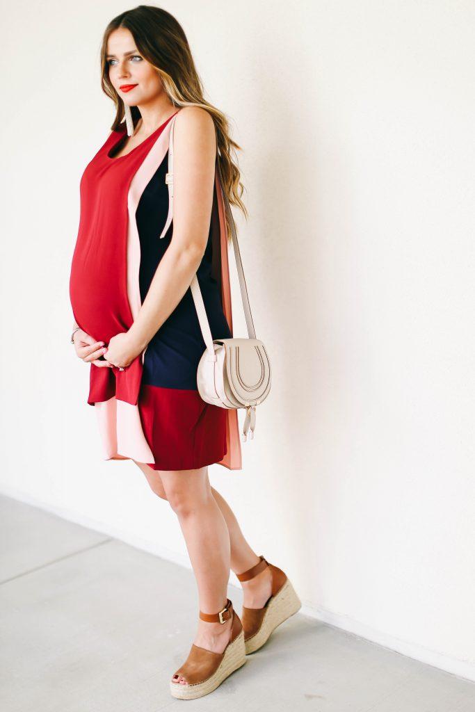 #BumpStyle // Red Blush & Navy Shift Dress & The Comfiest Wedges | BondGirlGlam.com