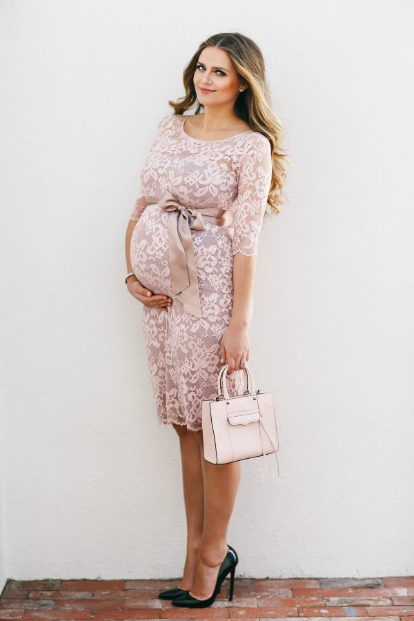 #BumpStyle // Pretty Pink Lace Maternity Dress | BondGirlGlam.com