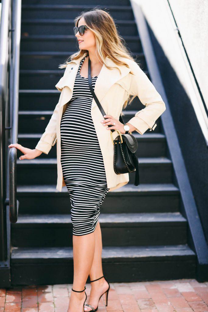 #BumpStyle // Spring Trench Coat & Striped Maternity Dress | BondGirlGlam.com