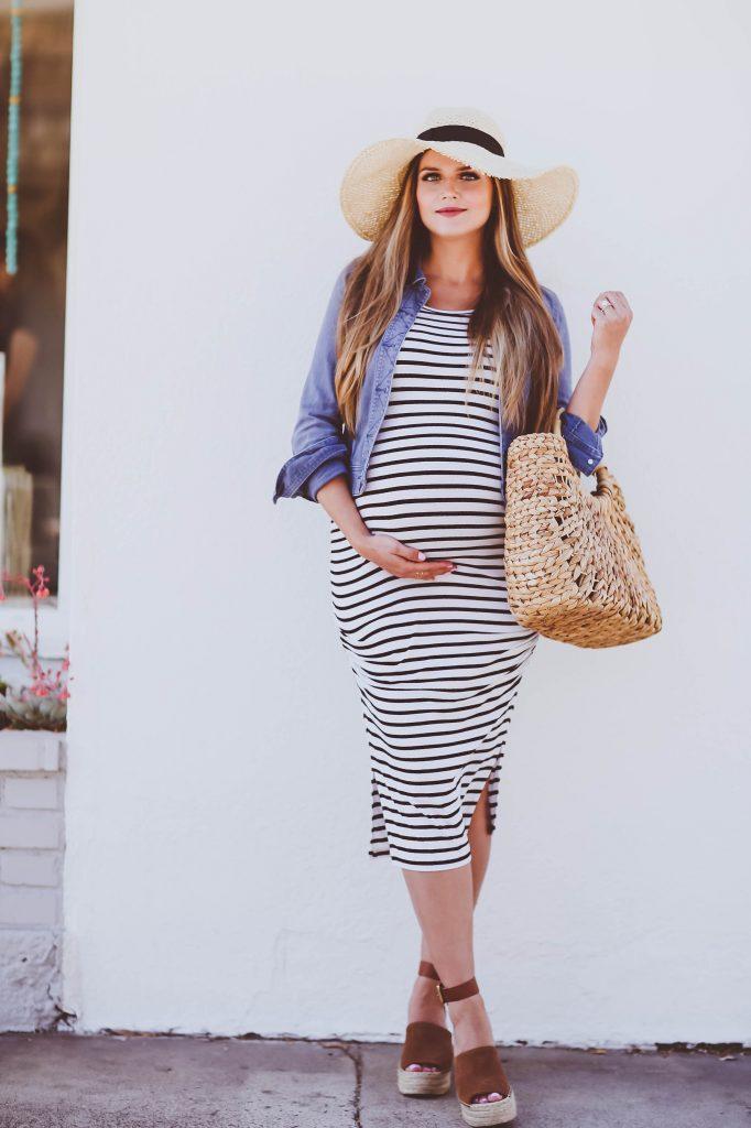 #BumpStyle // Denim Jacket & Striped Midi Maternity Dress | BondGirlGlam.com