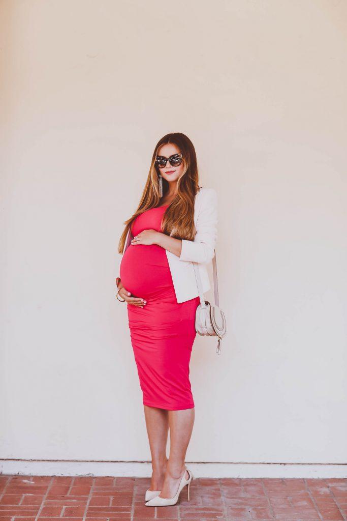 #BumpStyle // Blush Open-Front Blazer & Pink Ruched Maternity Tank Dress   BondGirlGlam.com