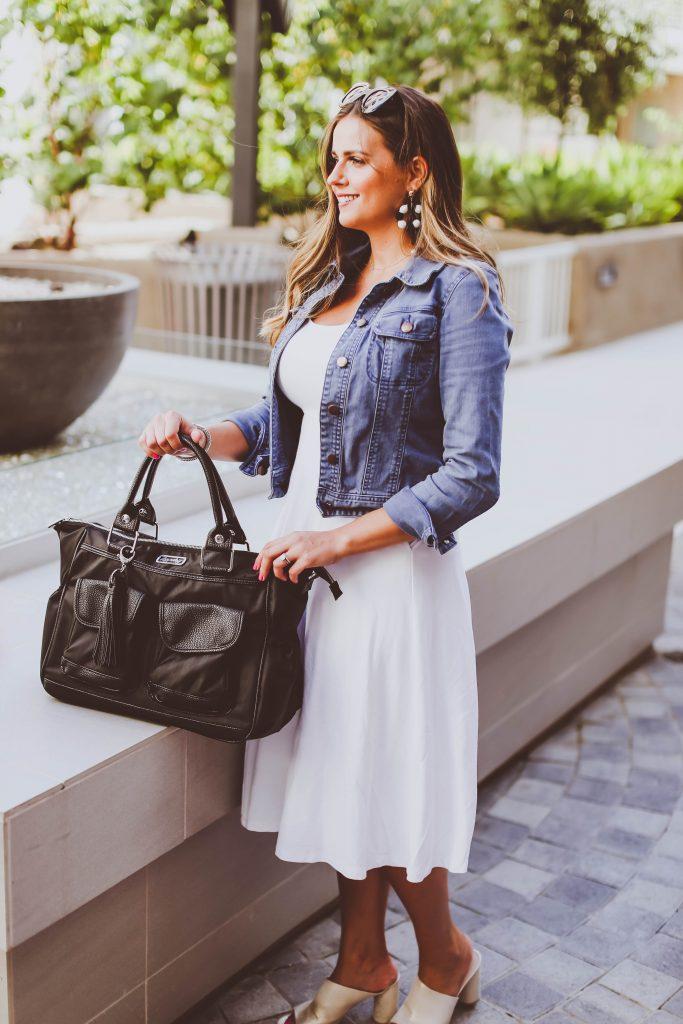 #OOTD // Jean Jacket & White Midi Dress | BondGirlGlam.com