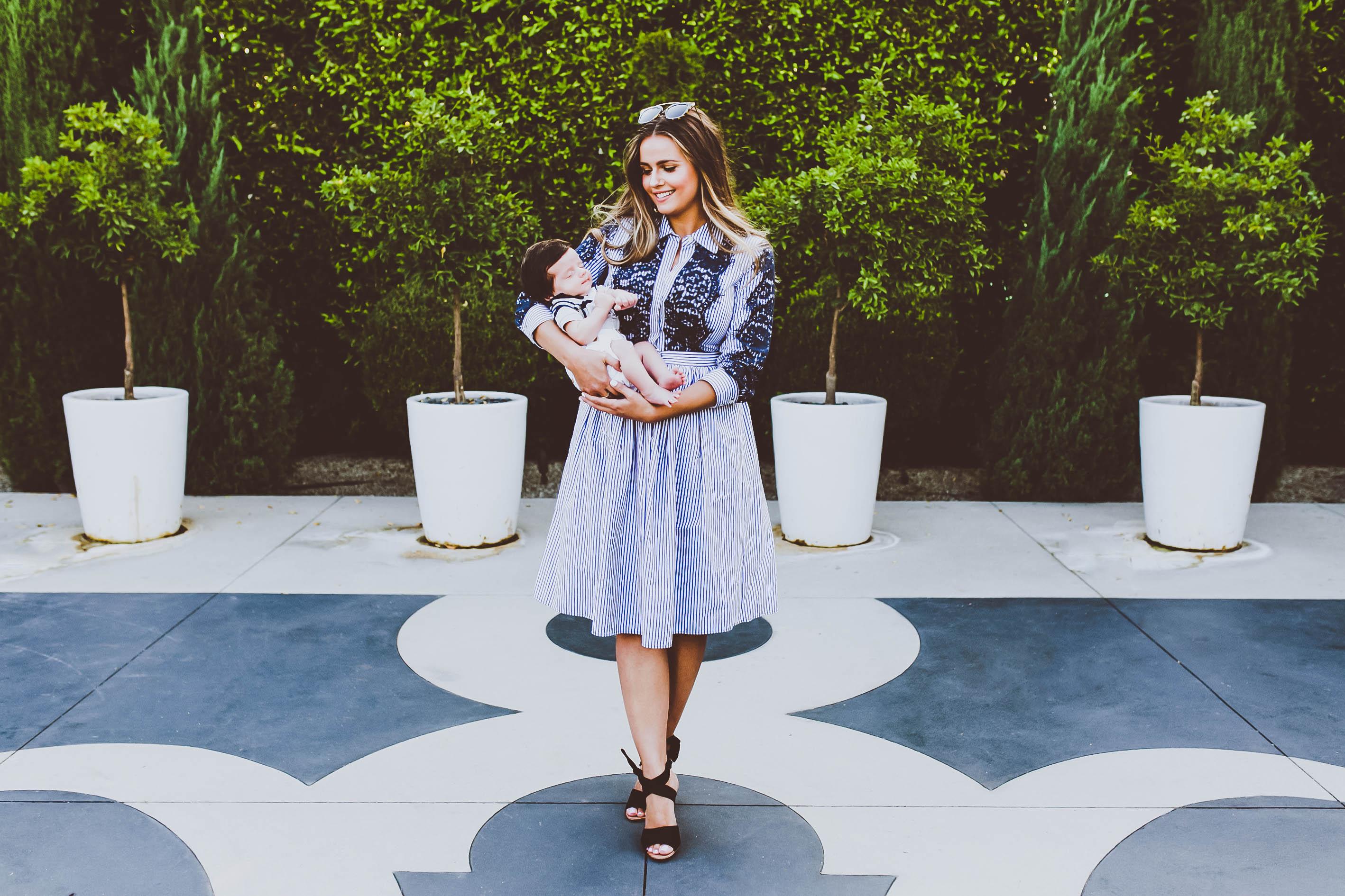 #OOTD // Striped Lace Button Down Dress & Black Suede Wrap Heels | BondGirlGlam.com