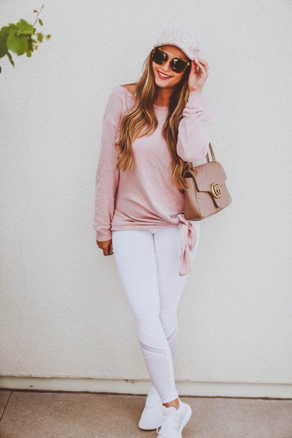 #OOTD // Blush Pink Tie Detail Sweatshirt & White Leggings | BondGirlGlam.com