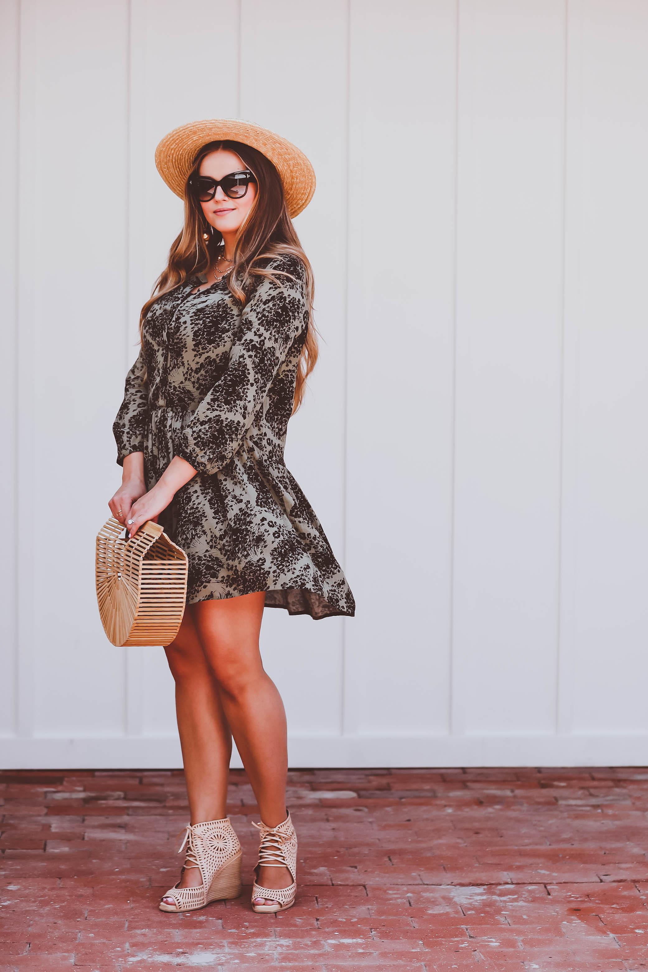 #OOTD // Olive Green & Black Printed Button Front Dress | BondGirlGlam.com