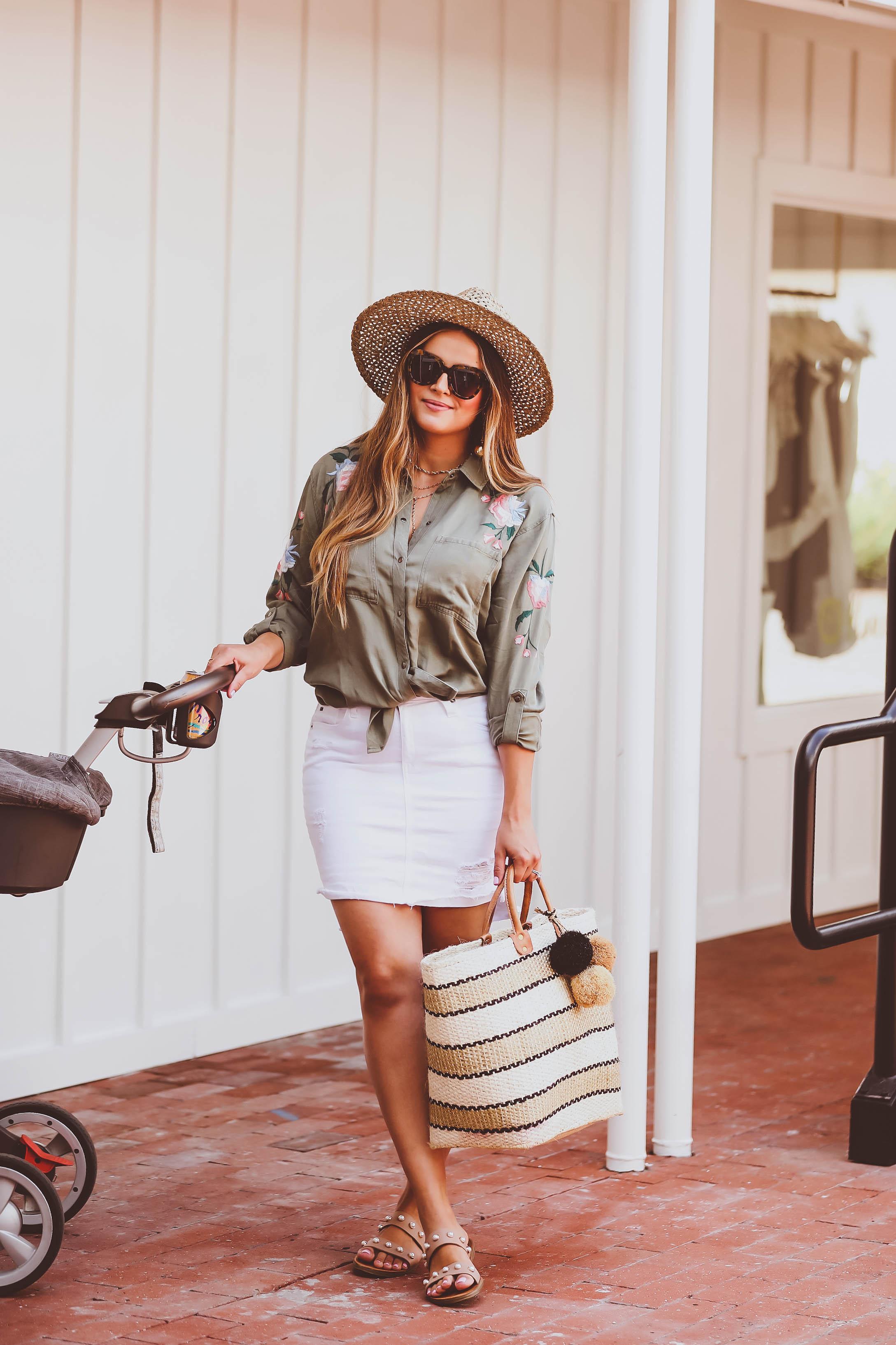 #OOTD // Green Embroidered Button-Down Shirt & White Denim Skirt | BondGirlGlam.com