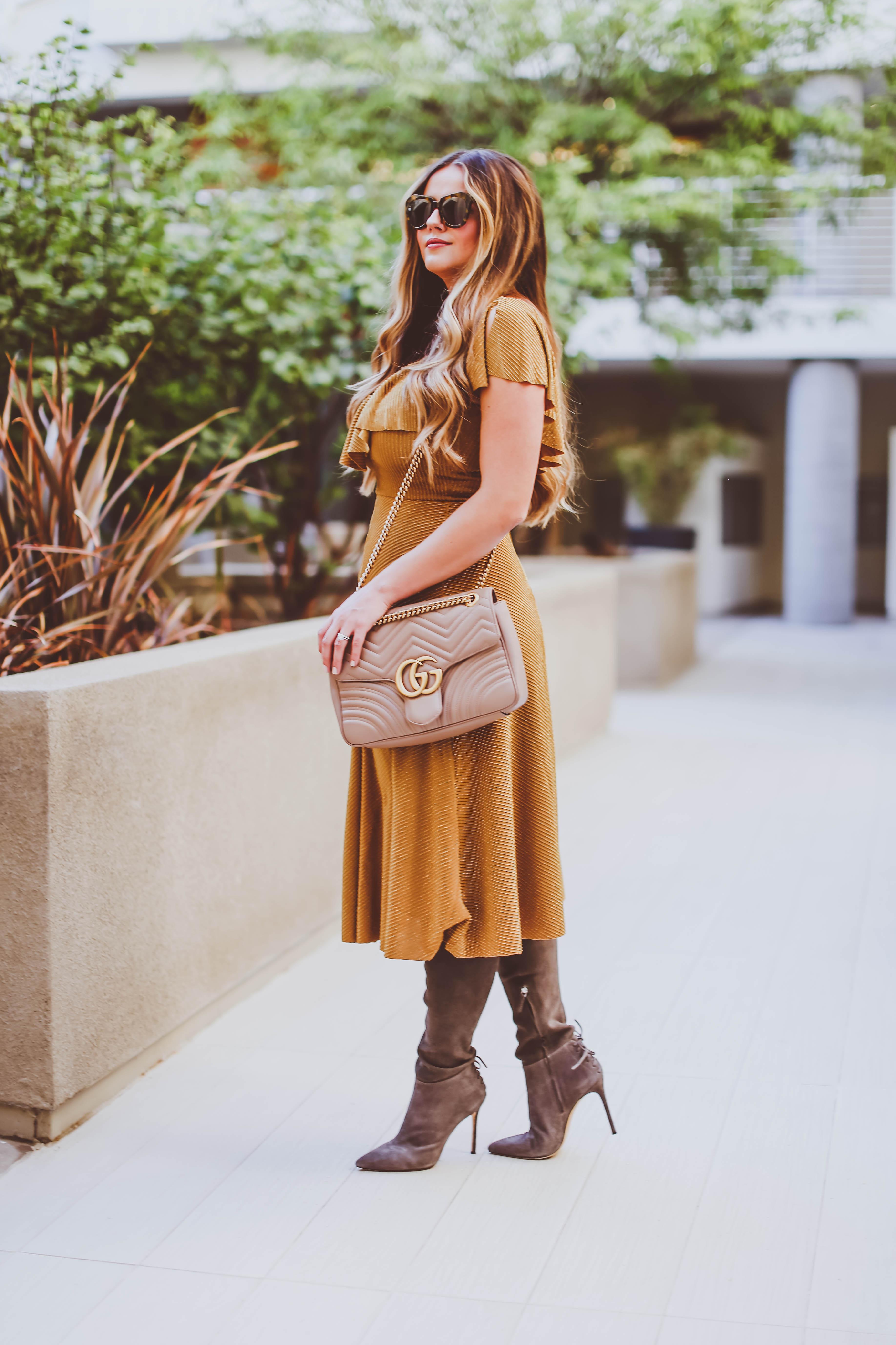 #OOTD // Mustard Yellow Metallic Midi Dress & The Sexiest Thigh-High Boots Ever | BondGirlGlam.com