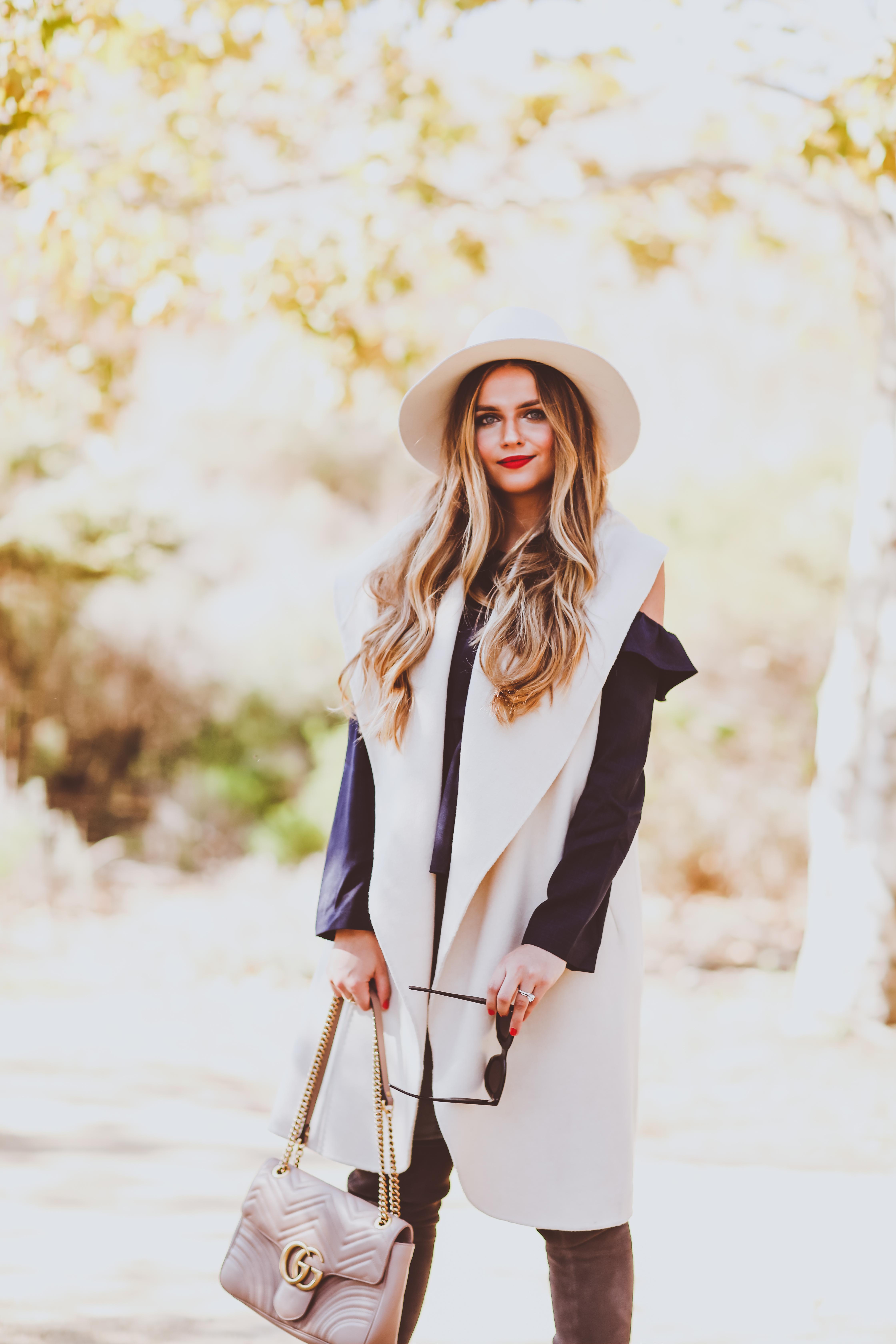 #OOTD // Cream Vest, Navy Cold Shoulder Top & Grey OTK Boots | BondGirlGlam.com