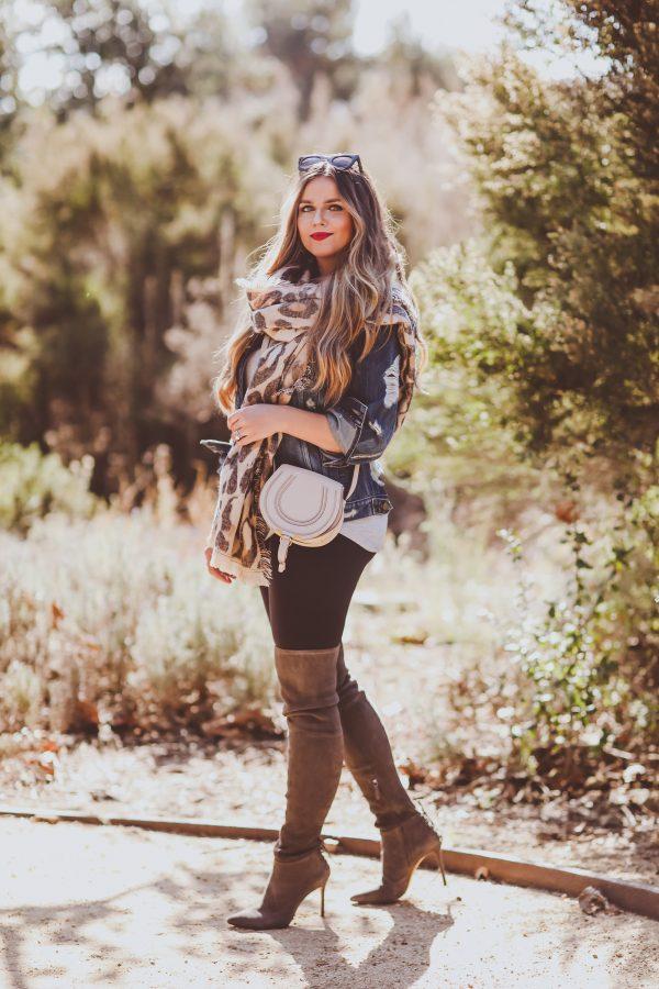 #OOTD // Distressed Denim Jacket, Leopard Scarf & OTK Boots | BondGirlGlam.com