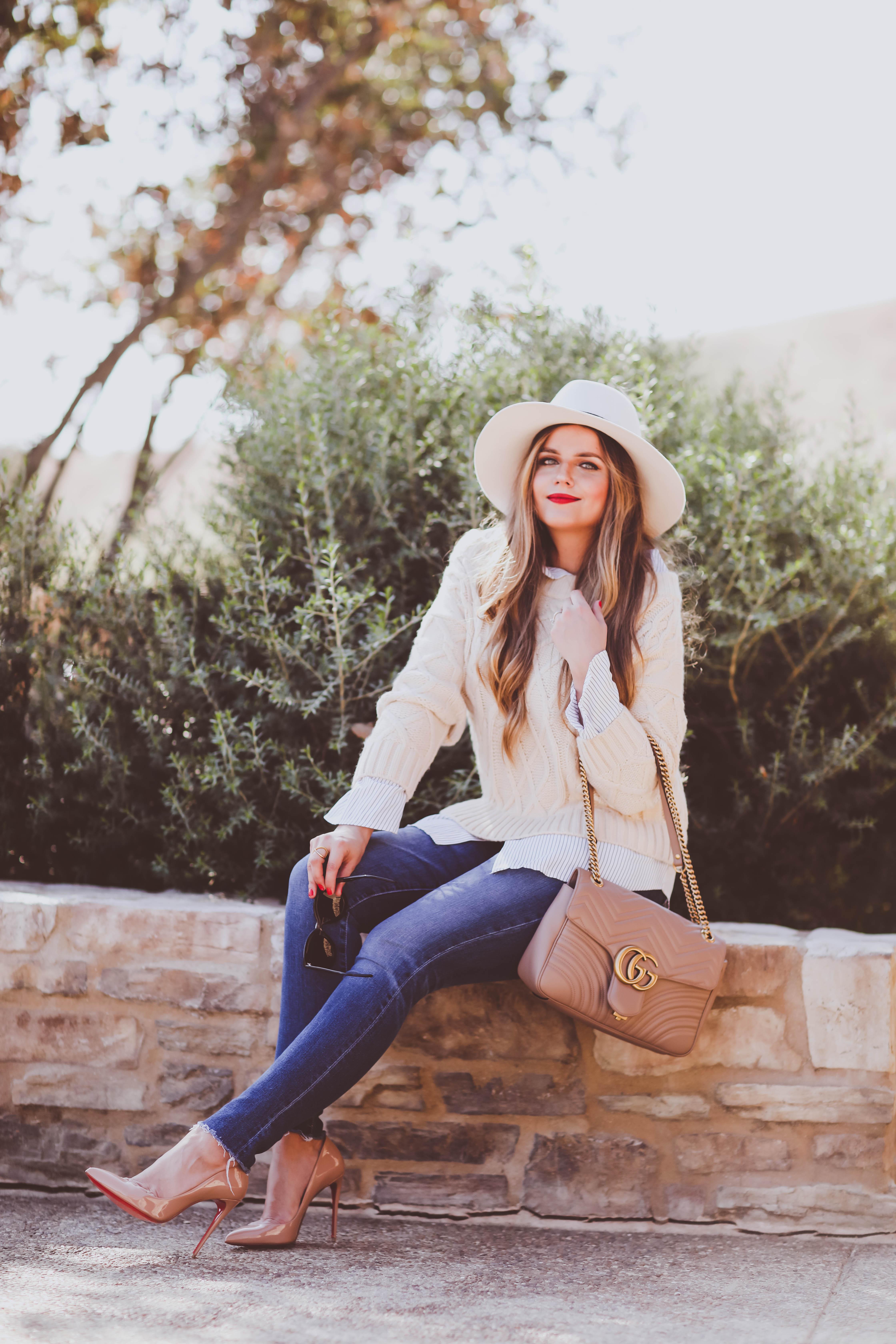 #OOTD // Cable Knit Sweater & Raw-Hem Skinny Jeans | BondGirlGlam.com