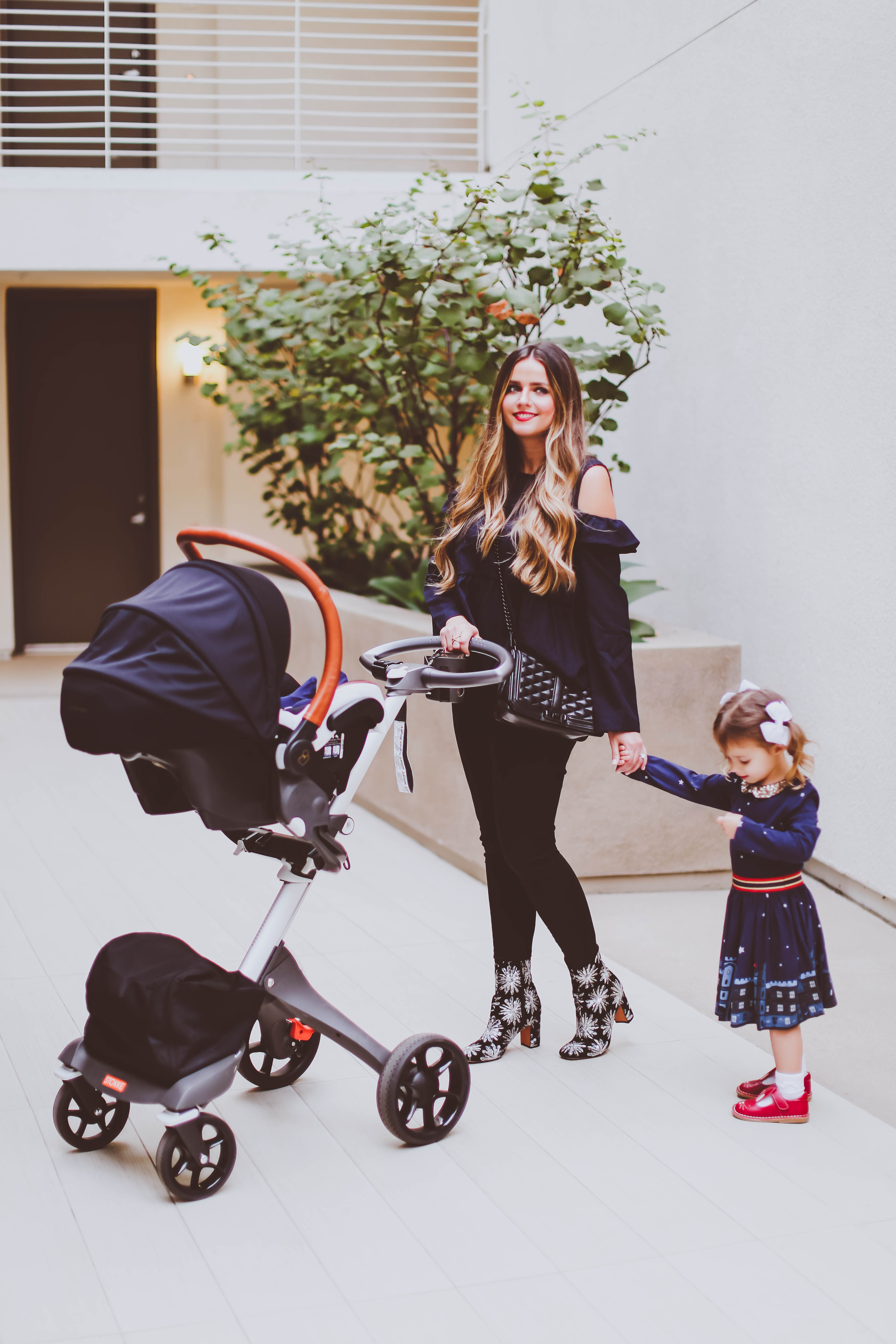 stokke xplory v5 stroller, maxi-cosi rachel zoe car seat, fall outfit ideas, fall style, bp cold shoulder ruffle blouse, nordstrom, mom of 2 fashion blogger, marc fisher grazie sequin bootie, jen7 coated black skinny jeans, rebecca minkoff love cross body bag, mini boden toddler girl dress, livie and luca bunny shoes