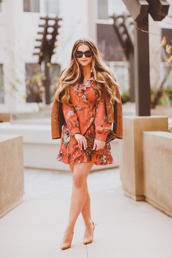 #OOTD // Leather Moto Jacket & Coral Floral Wrap Dress | BondGirlGlam.com