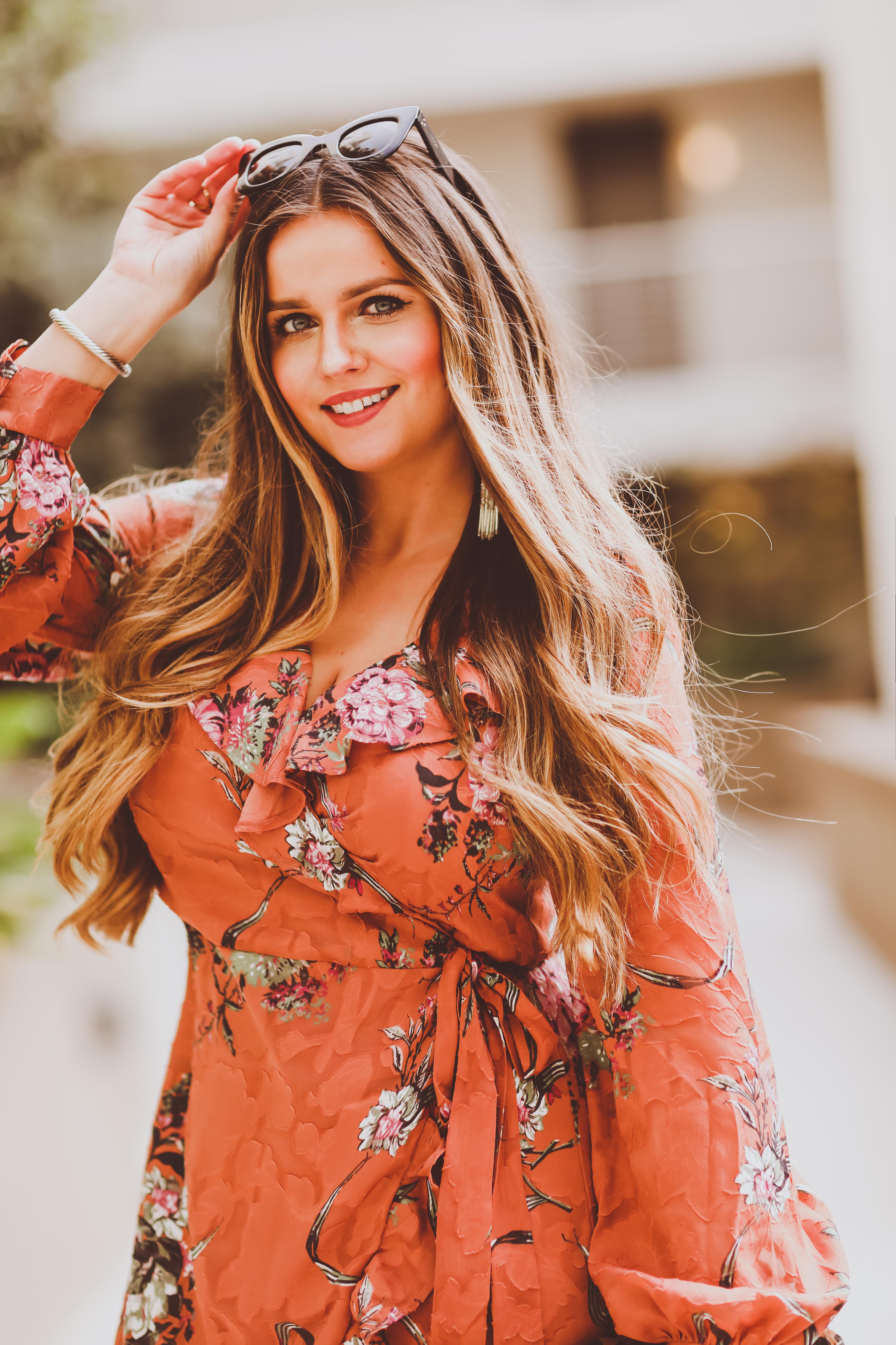 #OOTD // Leather Moto Jacket & Coral Floral Wrap Dress   BondGirlGlam.com