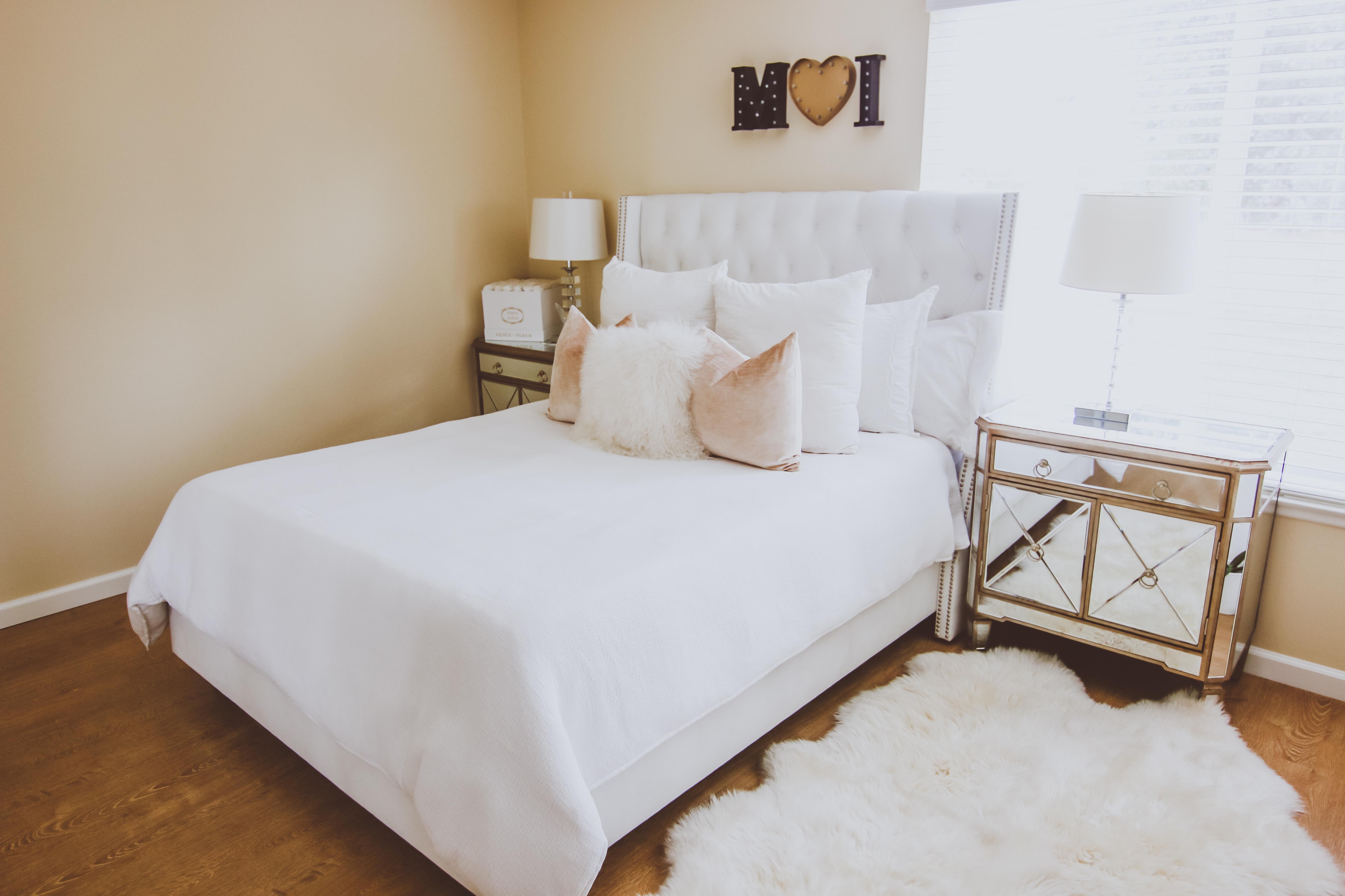 Glam White Velvet & Fur Master Bedroom | BondGirlGlam.com