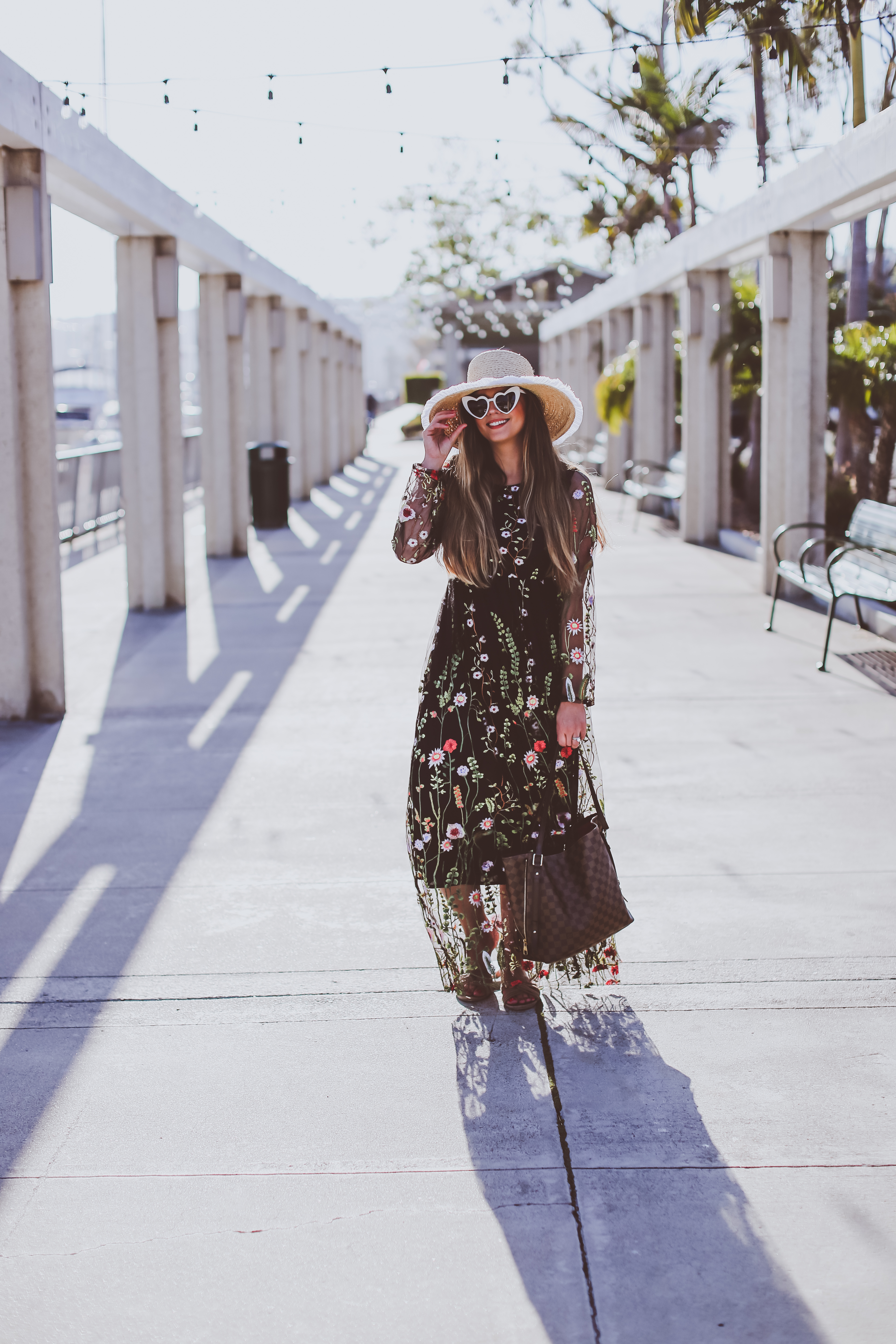 black floral maxi dress, mother's day, dana point harbor