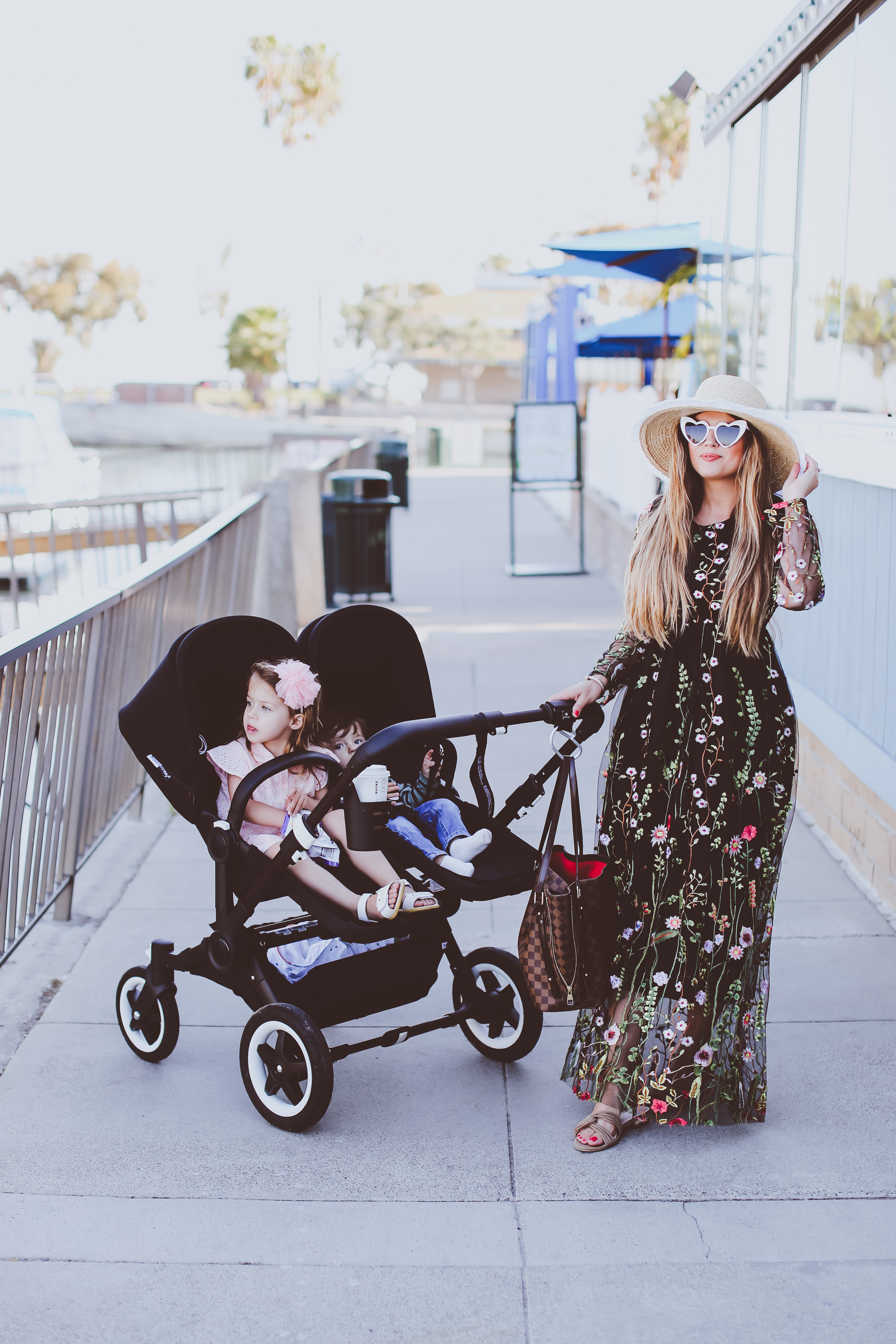 bugaboo donkey 2 double stroller, black floral maxi dress, mother's day, dana point harbor