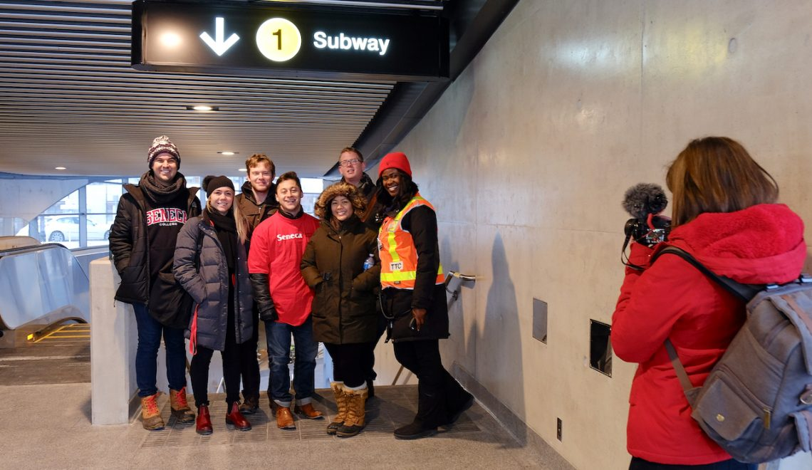 Seneca@York Students Ride First Subway from York University Station