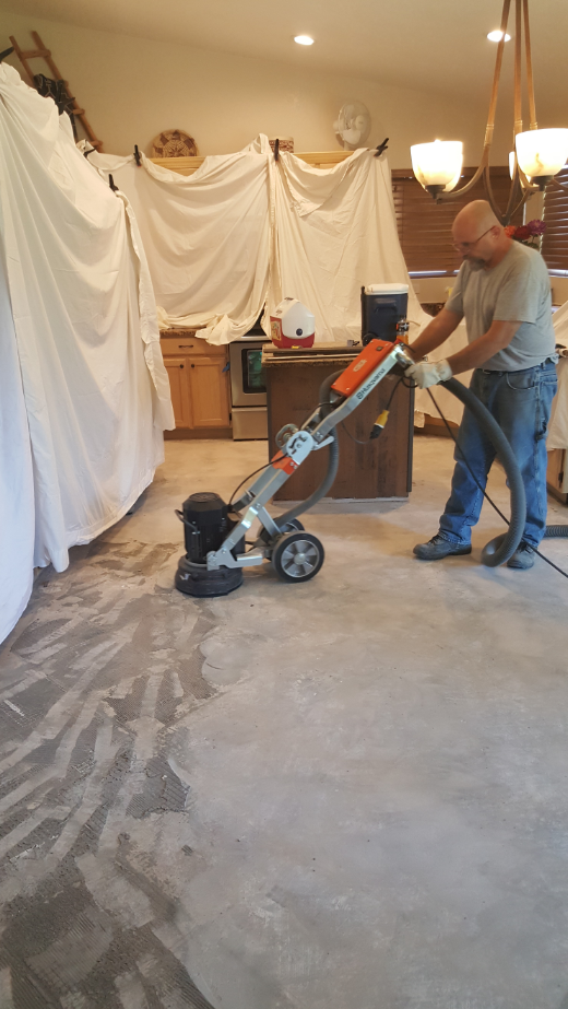 Grinding thinset from concrete