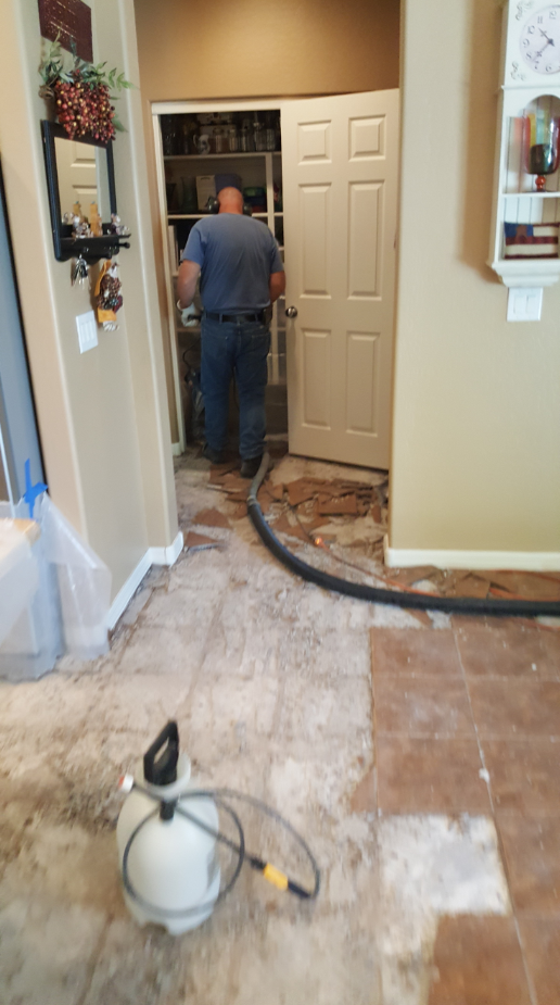 Tile removal with Hepa vac