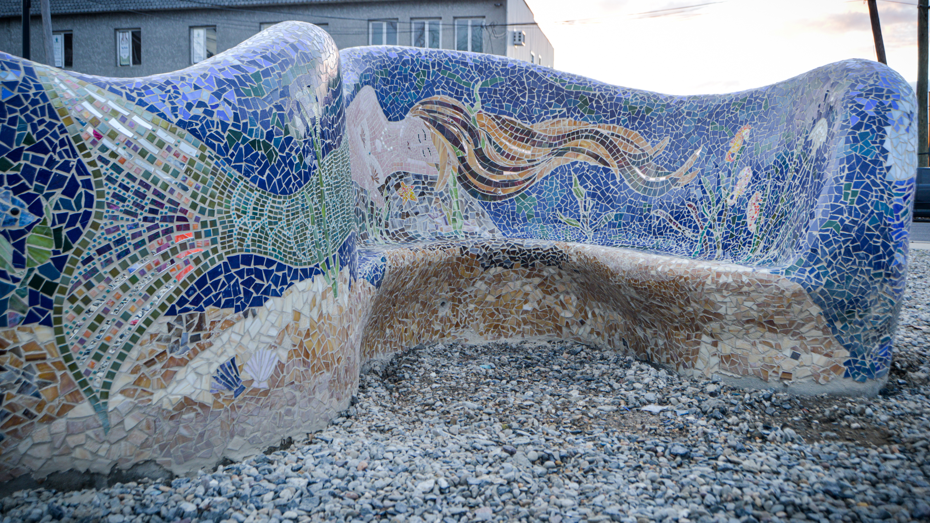 Free form bench sculptures located at the Keyport boat ramp area off Broad St.