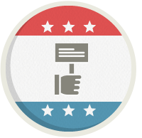Icon design representing campaigns and committees.