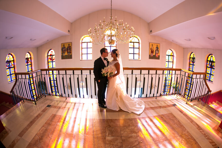 Beautiful Bride and Groom at Chicago Greek Church