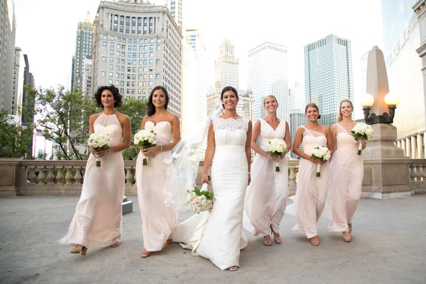 Bridesmaids at Chicago River