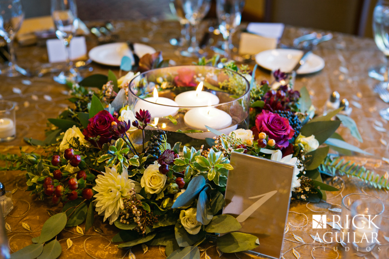 Candle and floral centerpiece