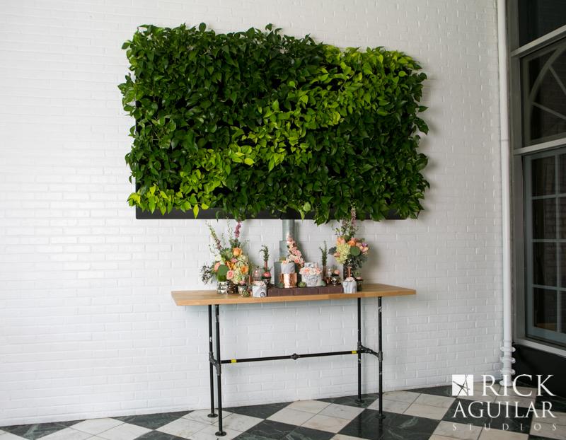 plant wall at wedding