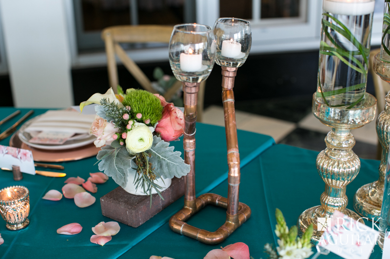 Copper candle at wedding table