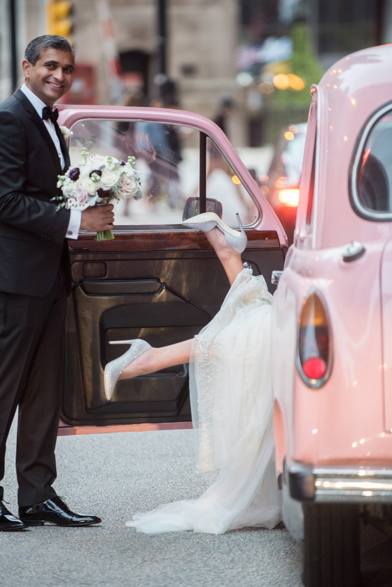 Chicago Wedding Photographer captures fun moment at the Langham Hotel